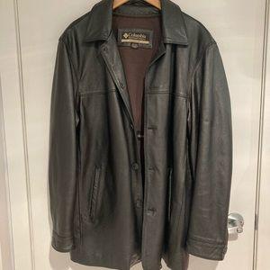 COLUMBIA Dark chocolate leather coat size large